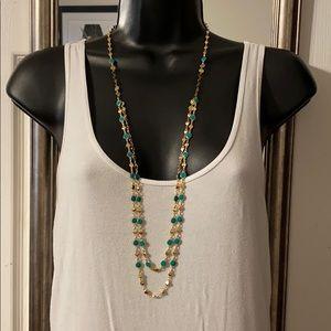 NWT Bancroft Gold Tone & Turquoise Necklace